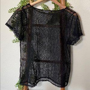 Armani Exchange Sheer Detail Knit Blouse